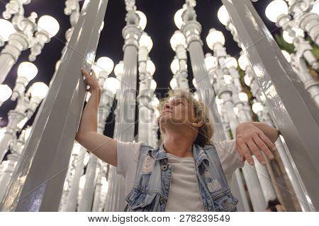 Caucasian Male Traveler Visiting A Famous Landmark, Lacma, Los Angeles, California, United States. N