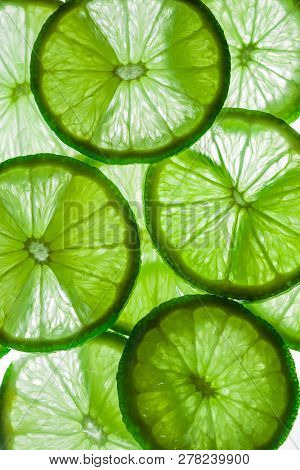 Light Background With Citrus Fruit Of Lime Slices, Background