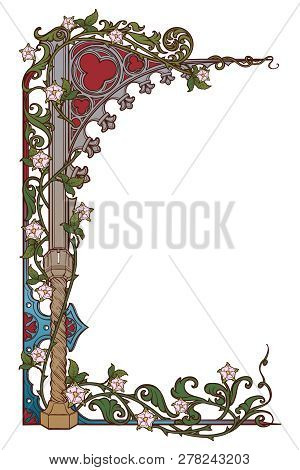 Medieval Manuscript Style Rectangular Frame. Gothic Style Pointed Arch Braided With A Rose Garlands.