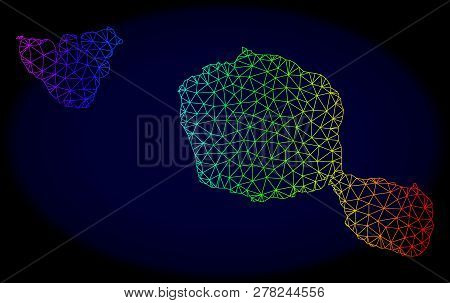 Rainbow Colored Mesh Vector Map Of Tahiti And Moorea Islands Isolated On A Dark Blue Background. Abs