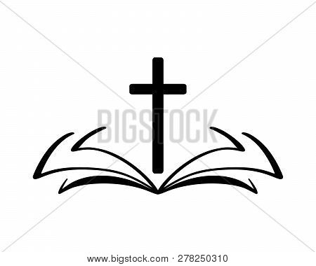 Vector Illustration Of Christian Logo. Emblem With Cross And Holy Bible. Religious Community. Design