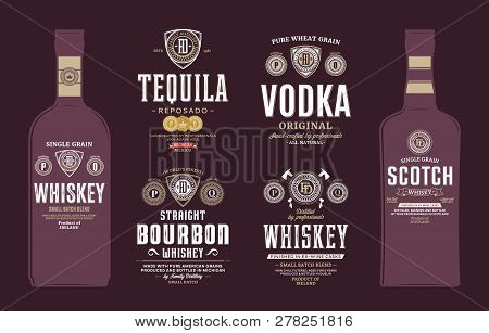 Alcoholic Drink Labels And Bottle Mockups