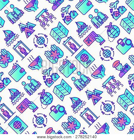 Immigration Seamless Pattern With Thin Line Icons: Immigrants, Illegals, Baggage Examination, Passpo