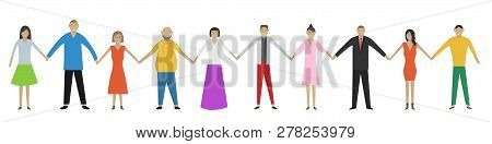 Men And Women Holding Hands. Happiness, Friendship, Teamwork, Gender Equality Concept. Vector Illust