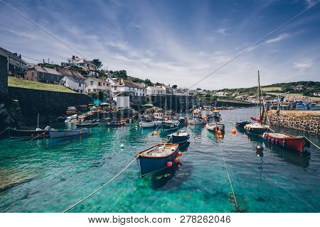 Coverack, Cornwall, Uk  - June 23, 2018. A Landscape Image Of The Picturesque Harbour Of Coverack In