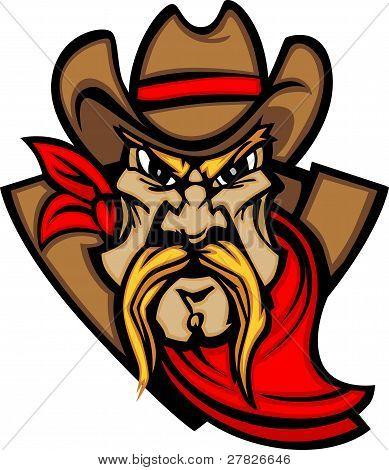 Cowboy Mascot Head Vector Illustration