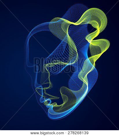 Dotted Particles Human Portrait, Abstract Human Head Vector Wave Shapes Array, Artificial Intelligen
