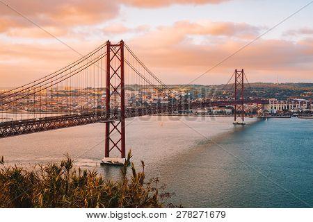 June 10, 2018. Lisbon, Portugal. The 25 De Abril Bridge Is A Bridge Connecting The City Of Lisbon To