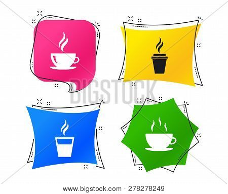 Coffee Cup Icon. Hot Drinks Glasses Symbols. Take Away Or Take-out Tea Beverage Signs. Geometric Col