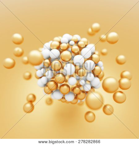 Abstract white and gold particles molecular structure. 3D render.