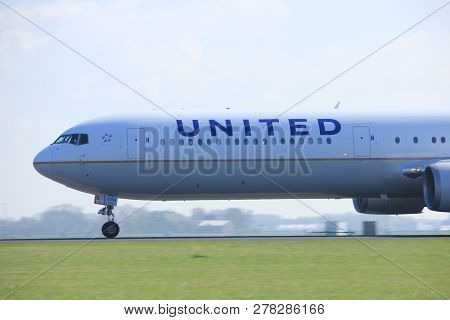 Amsterdam The Netherlands - April 2nd, 2017: N67058 United Airlines Boeing 767-400 Takeoff From Pold