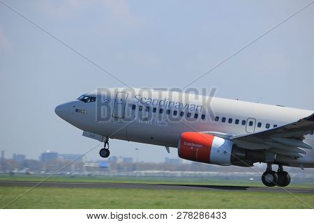 Amsterdam The Netherlands - April 2nd, 2017: Se-rjx Sas Scandinavian Airlines Boeing 737 Takeoff Fro