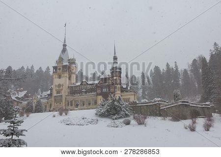Peles Castle in Romania Predeal, blizzard in Brasov Sinaia poster