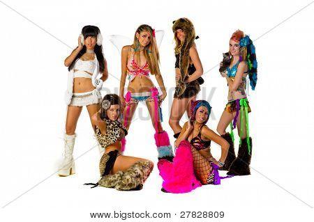 Group of 6 Go Go Dancers in full costume