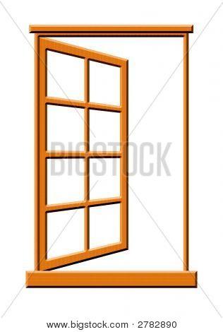 Open Wooden Window Illustration