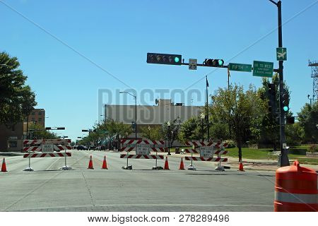 Roswell, New Mexico - October 06: Road Closed Main Street In Roswell With Alien Gift Shops 2013