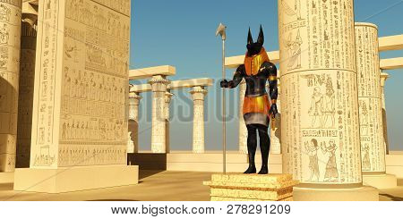 Anubis Statue In Temple 3d Illustration - Anubis In Ancient Egyptian Mythology Was The God Of The Af