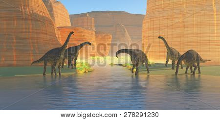 Cetiosaurus Canyon River 3d Illustration - A Herd Of Cetiosaurus Dinosaurs Drink From A Canyon River