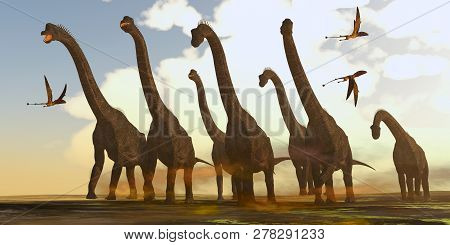 Brachiosaurus Dinosaurs On Trek 3d Illustration - Dimorphodon Reptiles Fly Past A Herd Of Brachiosau