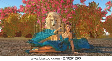 Fairy And White Lion 3d Illustration - Fairy Glymmer Keeps Company With Her Pet White African Lion A