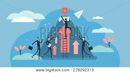 Competition Vector Illustration. Flat Tiny Business Persons Goals Concept. Success Symbol For Profes