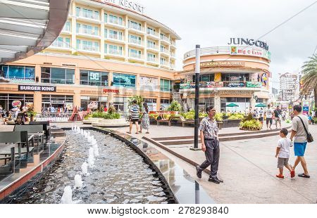 Patong, Thailand - 9th August 2018: People Walking Into Jung Ceylon Shopping Mall.  The Mall Serves