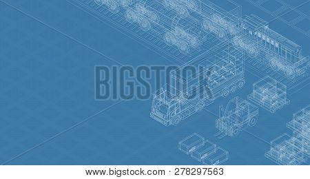 Blueprint Design Of Cargo Delivery Transportation On Blue Background