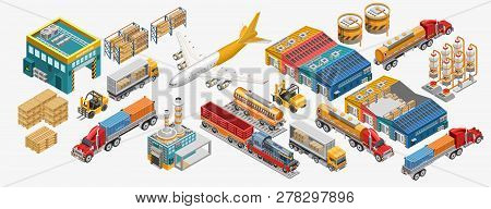 Isometric Warehouse And Logistics Set Of Freight Vessels And Vehicles Amidst Factories And Warehouse