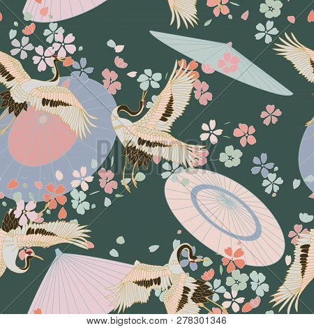 Japanese Pattern. Seamless Vector Ornament With Traditional Motives. Japanese Pattern With Japanese