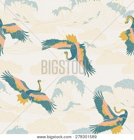 Japanese Storks In Vintage Style On White Background. Oriental Traditional Painting. White Stork. Ja