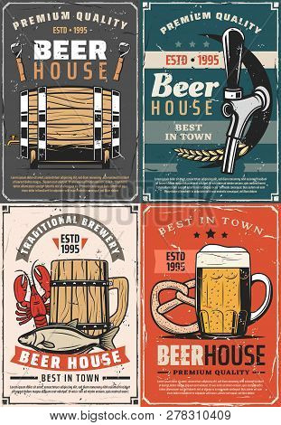 Beer House Retro Posters For Pub Or Bar. Traditional Brewery Cards Barrel, Glass And Wooden Mug Of R
