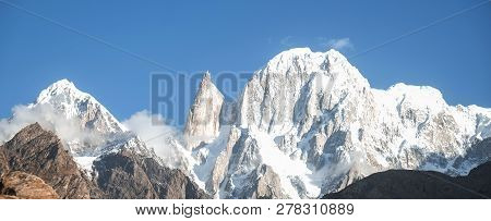 Panoramic View Of Snow Capped Hunza Peak And Ladyfinger Peak. Hunza Valley, Gilgit Baltistan, Northe