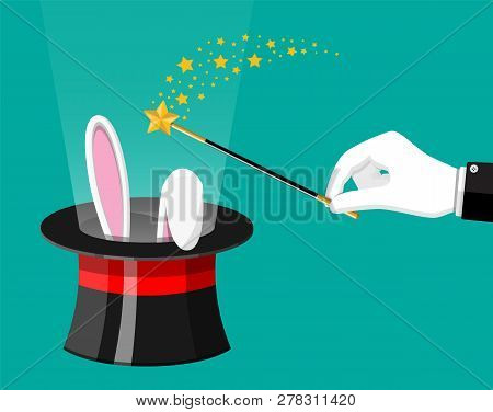 Magic Hat With Easter Bunny Ears And Wizard Wand. Illusionist Hat With Rabbit And Stick. Circus, Mag