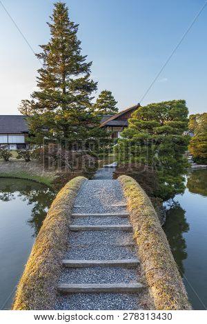 Idyllic Landscape Of Japanese Garden In Kyoto, Japan