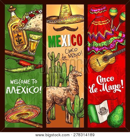 Cinco De Mayo Mexican Traditional Holiday Or Fiesta Banners. Vector Sketch Welcome To Mexico And Cin