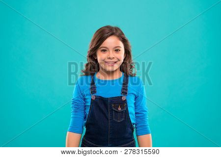 Pure Beauty. Kid Girl Long Healthy Shiny Hair Wear Casual Clothes. Little Girl With Long Hair. Kid H