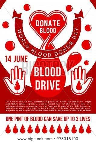 World Blood Donor Day Poster For Blood Donation. Vector Design Of Heart, Blood Drop And Helping Hand