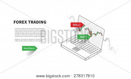 Forex Trading Landing Page Vector Illustration. Laptop With Trading Candlestick Chart, Graph Graphic