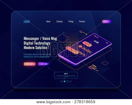 Mobile Application Messenger Concept Isometric Icon, Mobile Phone With Sms Dialog On Screen, Chatbot