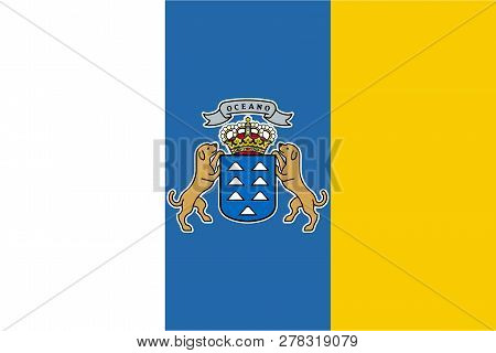 Flag Of Canary Islands In Official Rate And Colors, Vector.