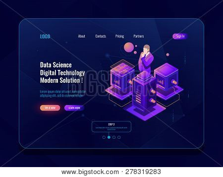 Data Science, Big Data Processing, Server Room, Database And Data Center Concpet, Isometric Icon, Da