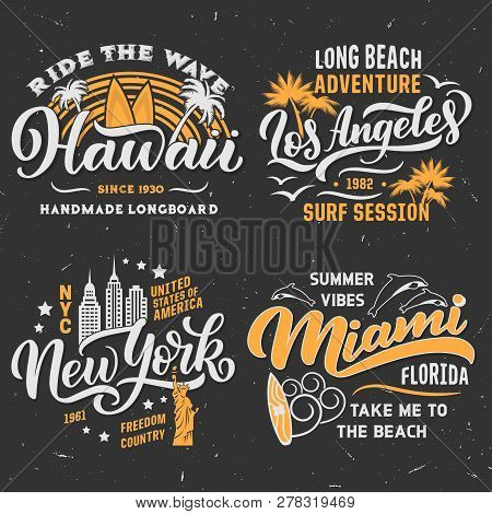 Surfing Adventure Club T-shirt Design. Hawaii, Los Angeles In California Or Miami And New York City.