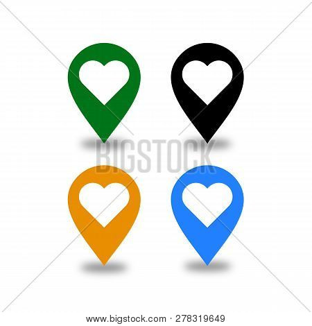 Heart Location Pin Icon, Location Pin Icon On Transparent. Pin On The Map Sign. Flat Style. Black, G
