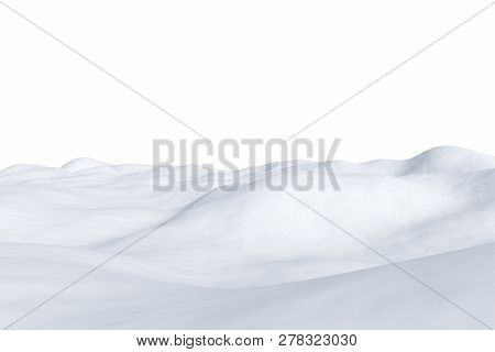 White Snowy Field With Hills And Smooth Snow Surface Isolated On White Background, Winter Arctic Min