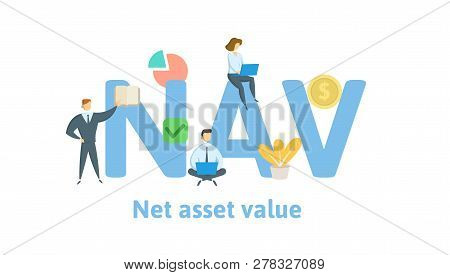 Nav, Net Asset Value. Concept With Keywords, Letters And Icons. Flat Vector Illustration. Isolated O