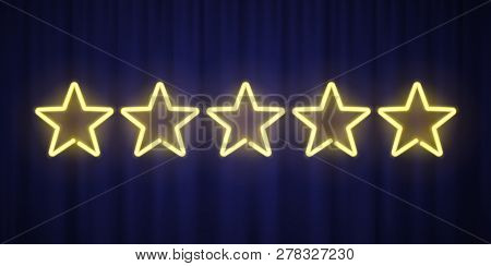 Five Yellow Neon Stars Rating Design Element Isolated On Blue Curtain Background. Vector Neon Star S