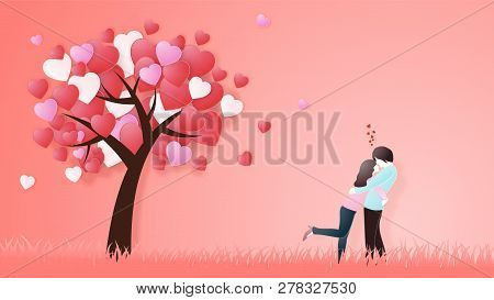 Creative Of Love Valentines Day Concept. Love Couple Hug Under Love Heart Tree Background.