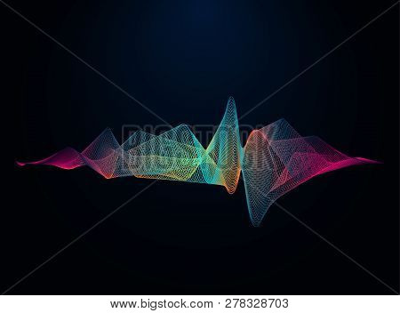Sound And Voice Beautiful Wave Abstract Background. Audio Wave Form Vector Illustration. Wave Of Mus