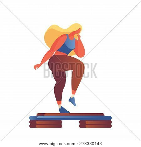 Step Aerobics Girl In Flat Modern Style Drawn With Gradients And Vivid Colors, Isolated On White. Ac