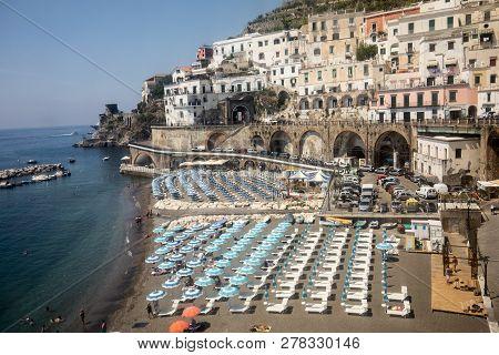 Amalfi Coast, Italy - June 16, 2017: View Of Beach In Maiori, Amalfi Coast, Italy